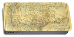 1849 Texas Map Portable Battery Charger by Bill Cannon