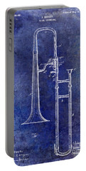 1902 Trombone Patent Blue Portable Battery Charger by Jon Neidert