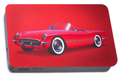 1953 Corvette Classic Vintage Sports Car Automotive Art Portable Battery Charger by John Samsen