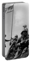 1st Flag Raising On Iwo Jima  Portable Battery Charger by War Is Hell Store