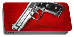 Beretta 92fs Inox Over Red Leather  Portable Battery Charger by Serge Averbukh