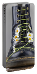 Boots With Daisy Flowers Portable Battery Charger by Nailia Schwarz