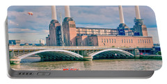 Pink Floyd's Pig At Battersea Portable Battery Charger by Dawn OConnor