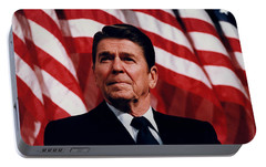 President Ronald Reagan Portable Battery Charger by War Is Hell Store