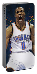 Russell Westbrook Portable Battery Charger by Semih Yurdabak