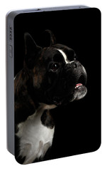 Purebred Boxer Dog Isolated On Black Background Portable Battery Charger by Sergey Taran