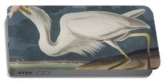 Great White Heron Portable Battery Charger by John James Audubon