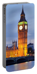 View Of Big Ben And Houses Portable Battery Charger by Panoramic Images
