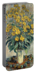Jerusalem Artichoke Flowers Portable Battery Charger by Claude Monet