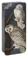 Snowy Owl Portable Battery Charger by John James Audubon