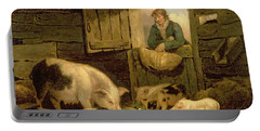 A Boy Looking Into A Pig Sty Portable Battery Charger by George Morland