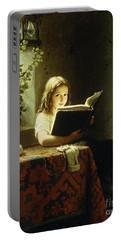 A Girl Reading Portable Battery Charger by Johann Georg Meyer