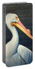 A Great White American Pelican Portable Battery Charger by James W Johnson
