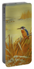 A Kingfisher Amongst Reeds In Winter Portable Battery Charger by Archibald Thorburn
