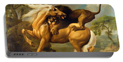 A Lion Attacking A Horse Portable Battery Charger by George Stubbs