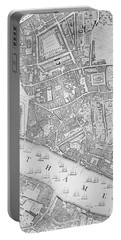 A Map Of The Tower Of London Portable Battery Charger by John Rocque