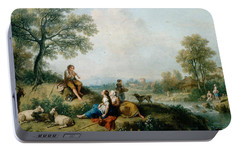 A Pastoral Scene With Goatherds Portable Battery Charger by Francesco Zuccarelli