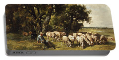 A Shepherd And His Flock Portable Battery Charger by Charles Emile Jacques