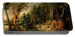 A Shepherd With His Flock In A Woody Landscape Portable Battery Charger by Rubens