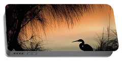 A Snowy Egret (egretta Thula) Settling Portable Battery Charger by John Edwards