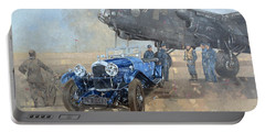 Able Mable And The Blue Lagonda  Portable Battery Charger by Peter Miller