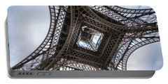 Abstract Eiffel Tower Looking Up 2 Portable Battery Charger by Mike Reid