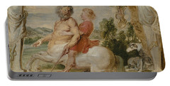 Achilles Educated By The Centaur Chiron Portable Battery Charger by Peter Paul Rubens