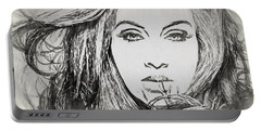 Adele Charcoal Sketch Portable Battery Charger by Dan Sproul
