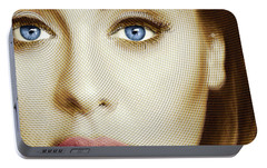 Adele Painting Circle Pattern 1 Portable Battery Charger by Tony Rubino