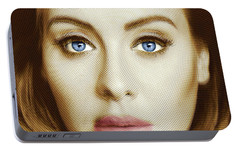 Adele Painting Circle Pattern 2 Portable Battery Charger by Tony Rubino
