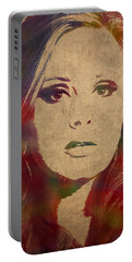 Adele Watercolor Portrait Portable Battery Charger by Design Turnpike