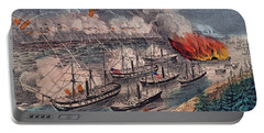 Admiral Farragut's Fleet Engaging The Rebel Batteries At Port Hudson Portable Battery Charger by American School