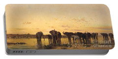 African Elephants Portable Battery Charger by Charles Emile de Tournemine