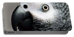 African Gray Parrot Art - Softy Portable Battery Charger by Sharon Cummings
