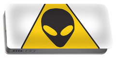Alien Grey Graphic Portable Battery Charger by Pixel Chimp