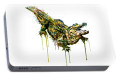Alligator Watercolor Painting Portable Battery Charger by Marian Voicu