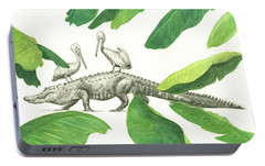 Alligator With Pelicans Portable Battery Charger by Juan Bosco