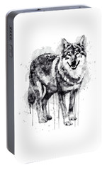 Alpha Wolf Black And White Portable Battery Charger by Marian Voicu