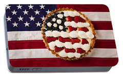 American Pie On American Flag  Portable Battery Charger by Garry Gay