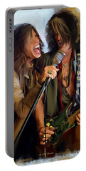 American Rock  Steven Tyler And Joe Perry Portable Battery Charger by Iconic Images Art Gallery David Pucciarelli