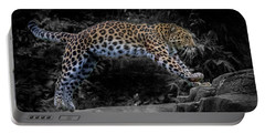 Amur Leopard On The Hunt Portable Battery Charger by Martin Newman