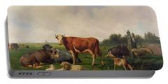 Animals Grazing In A Meadow  Portable Battery Charger by Hendrikus van de Sende Baachyssun