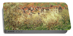 Apple Trees In Blossom Portable Battery Charger by Claude Monet