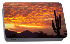 Arizona November Sunrise With Saguaro   Portable Battery Charger by James BO  Insogna