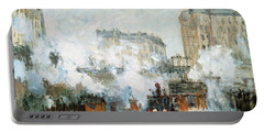 Arrival Of A Train Portable Battery Charger by Claude Monet