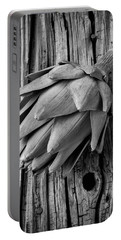 Artichoke In Black And White Portable Battery Charger by Garry Gay