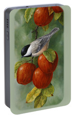 Apple Chickadee Greeting Card 3 Portable Battery Charger by Crista Forest