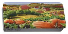 Farm Landscape - Autumn Rural Country Pumpkins Folk Art - Appalachian Americana - Fall Pumpkin Patch Portable Battery Charger by Walt Curlee