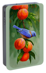 Bluebird And Peaches Greeting Card 1 Portable Battery Charger by Crista Forest