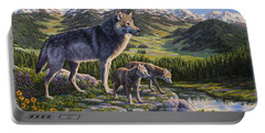 Wolf Painting - Passing It On Portable Battery Charger by Crista Forest
